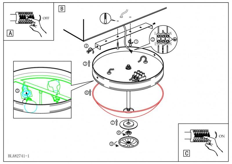 3. Схема установки настенного или потолочного светильника.