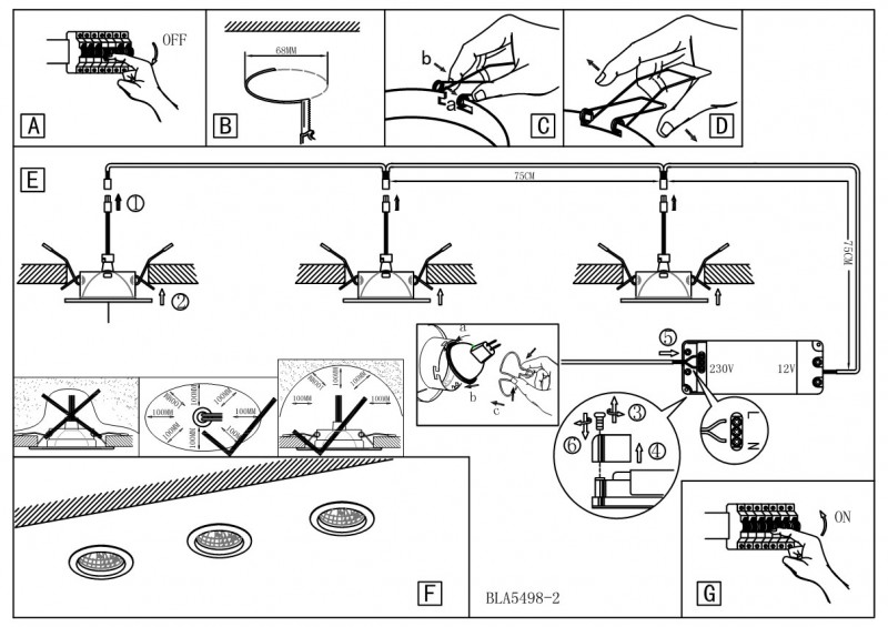 Установка и монтаж точечных светильников схема